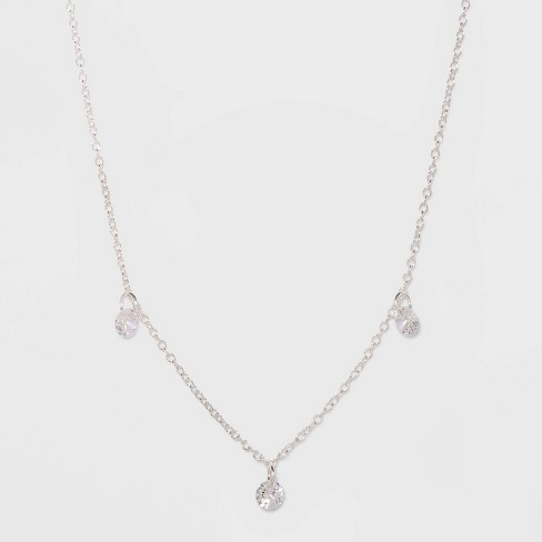 Sterling Silver with Cubic Zirconium Necklace - A New Day™ Silver - image 1 of 2