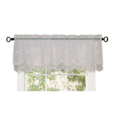 "Commonwealth Habitat Hathaway Scroll Motif Double Scalloped Valance - 54""x17"" in White Color"