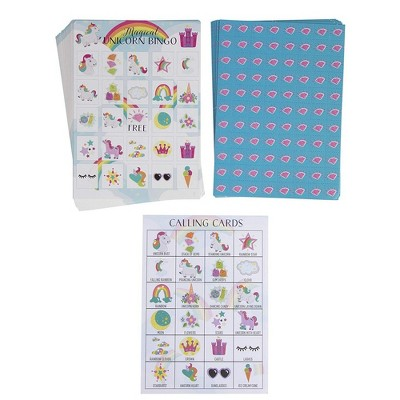 Juvale 36-Set Unicorn Bingo Game for Kids Themed Party Supplies, 2 to 36 Multi-Player