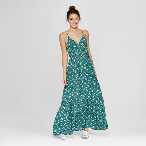 9b65fc463f0f Women s Floral Print Ruffle Hem Maxi Dress - Le Kate (Juniors ) Dark Green