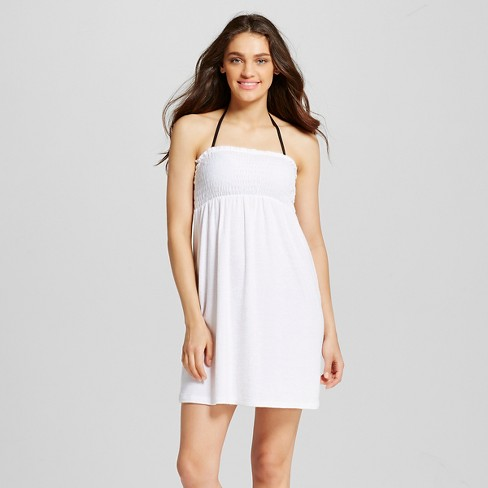 Women S Terry Smocked Strapless Cover Up Dress 2