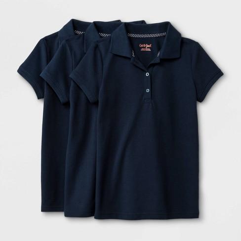 Girls' 3pk Short Sleeve Pique Uniform Polo Shirt - Cat & Jack™ - image 1 of 1