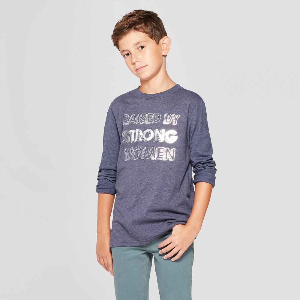 Boys' Raised by Strong Women Long Sleeve Graphic T-Shirt - Cat & Jack Navy Heather XL, Blue