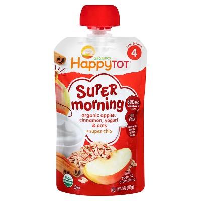 HappyTot Super Morning Organic Apples Cinnamon Yogurt & Oats with Superchia Baby Food Pouch - 4oz
