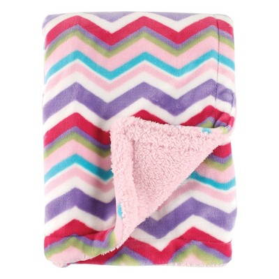 Hudson Baby Unisex Baby Plush Blanket with Sherpa Back - Pink One Size