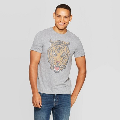 Men's Printed Standard Fit Tiger Short Sleeve Crew Neck Graphic T-Shirt - Goodfellow & Co™ Gray