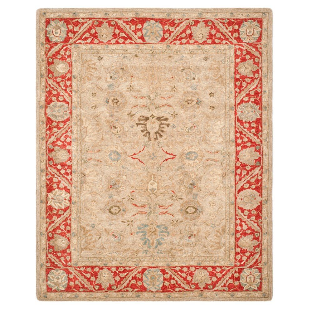 Taupe/Red Floral Tufted Area Rug 8'X10' - Safavieh, Taupenred