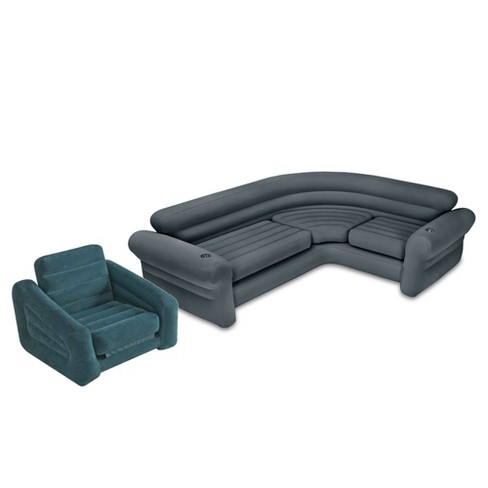 Intex Inflatable Corner Couch Sectional Sofa And Pull-Out Twin Air ...