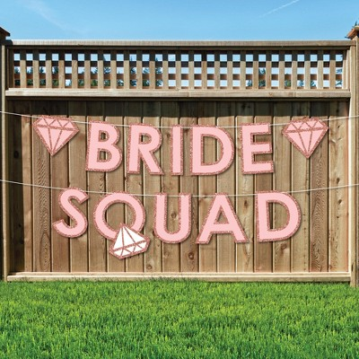 Big Dot of Happiness Bride Squad - Large Rose Gold Bridal Shower or Bachelorette Party Decorations - Bride Squad - Outdoor Letter Banner