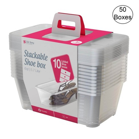 Life Story 5.7 Liter Clear Shoe/Closet Storage Box Stacking Container (50 Boxes) - image 1 of 4