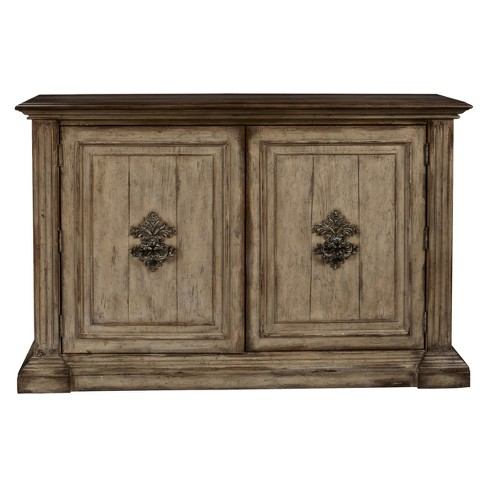 Hand Painted Traditional Distressed Two Door Accent Storage Console - Brown - Pulaski - image 1 of 6