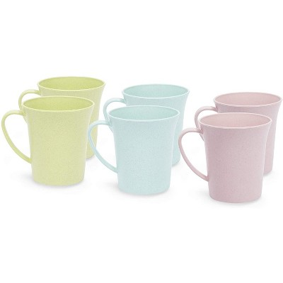 Okuna Outpost 6-Pack Unbreakable Wheat Straw Tea Cups, Plastic Coffee Mugs with Handles 11 oz
