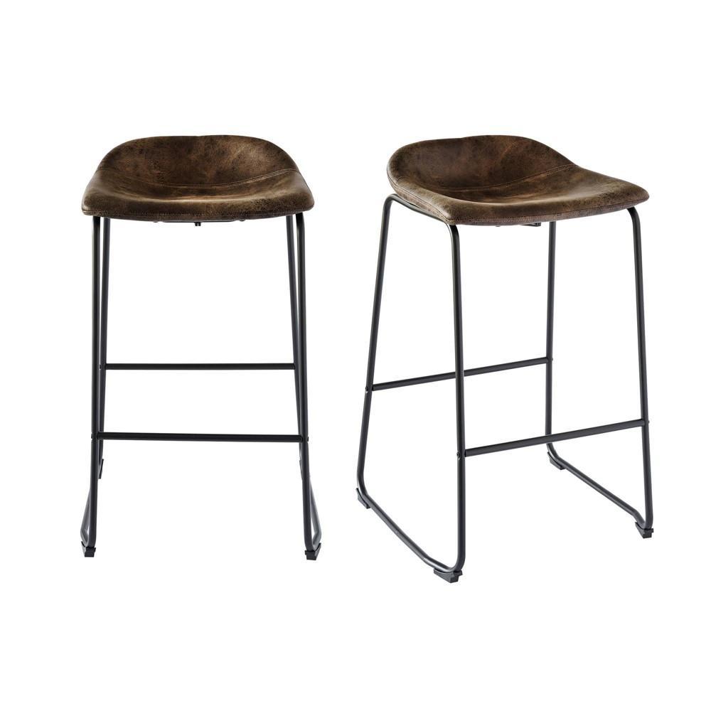 Image of 2pc Galloway Metal Bar Stool Set Brown - Picket House Furnishings