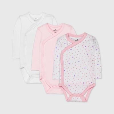 Honest Baby Girls' 3pc Love Dot Organic Cotton Long Sleeve Kimono Bodysuit - Pink 3-6M