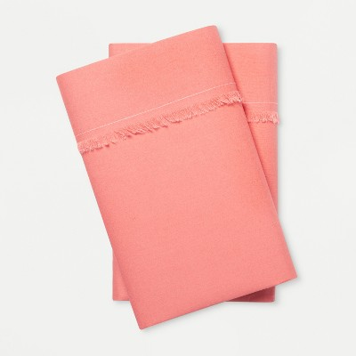 Solid Fringe Percale Cotton Pillowcases (King)Coral - Opalhouse™