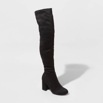 Women's Tonya Microsuede Heeled Fashion Boots - A New Day™ Black 8