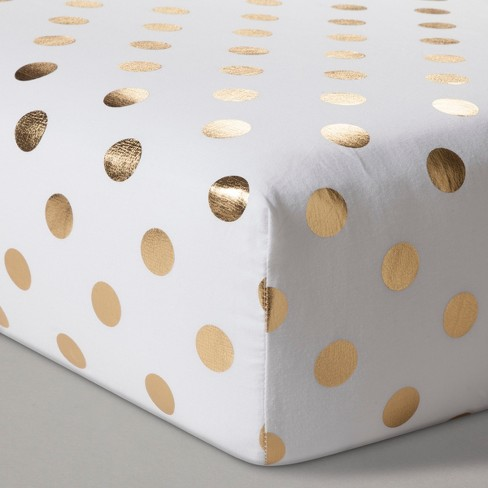 Fitted Crib Sheet Dots - Cloud Island™  Gold - image 1 of 2