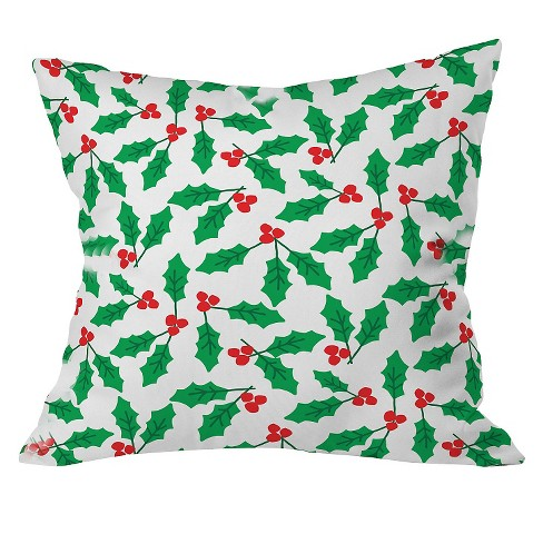 "Green Holly Day Throw Pillow (20""x20"") - Deny Designs® - image 1 of 2"