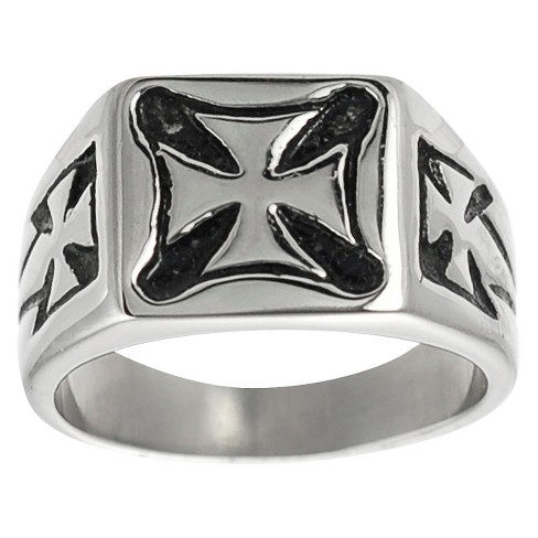 Daxx Men's Stainless Steel Pattee Cross Ring - Silver - image 1 of 4