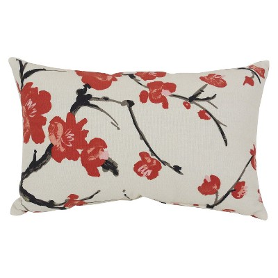 Beige/Red Flowering Branch Throw Pillow - Pillow Perfect