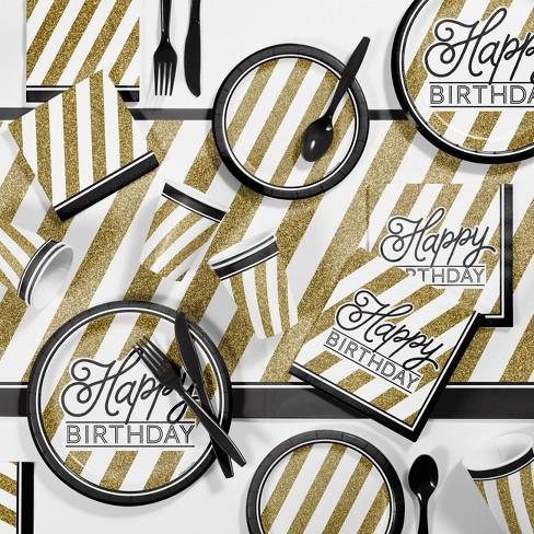 Birthday Party Supplies Kit Black Gold Target
