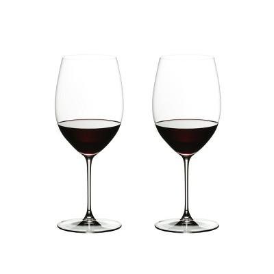 Riedel 6449/0 Veritas Dishwasher Safe Crystal Cabernet/Merlot High Tannin Red Wine Drinking Glass Set, 22 Ounces, (2 Pack)