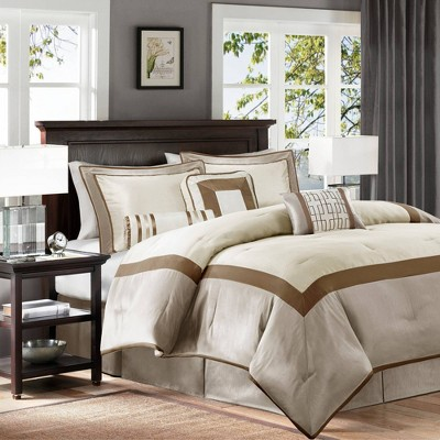 Beverly Queen 7pc Comforter Set Taupe/Brown