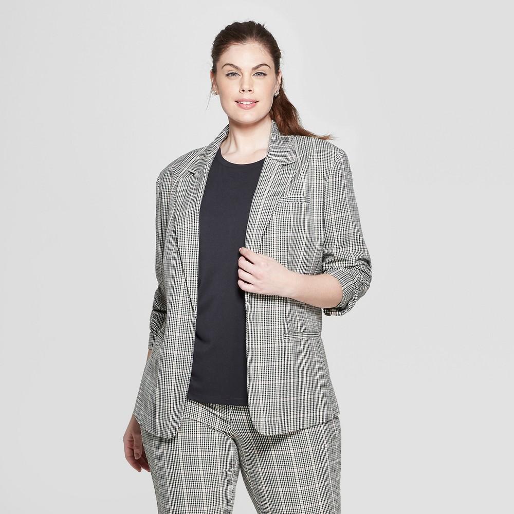 Women's Plus Size Plaid Blazer - Ava & Viv X, Multi-Colored