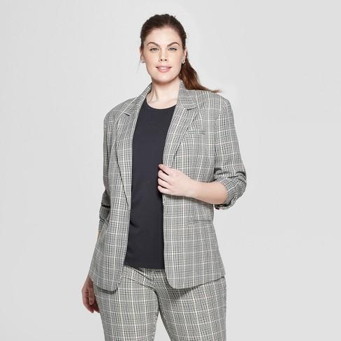 d5305358140db Women's Plus Size Plaid Blazer - Ava & Viv™ : Target