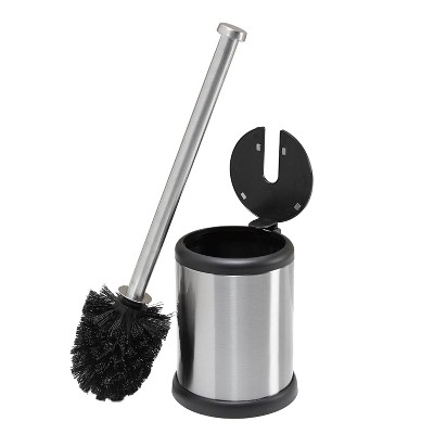 Self Closing Lid Toilet Brush and Holder Stainless Steel - Bath Bliss