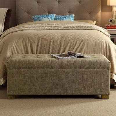Large Tufted Storage Bench Brown - HomePop