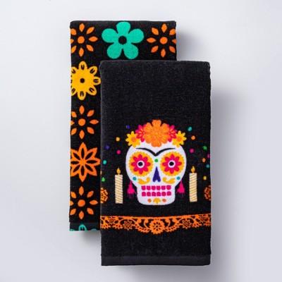 Día de Muertos 2pk Black Terry Cloth Kitchen Towels - Designed with Luis Fitch
