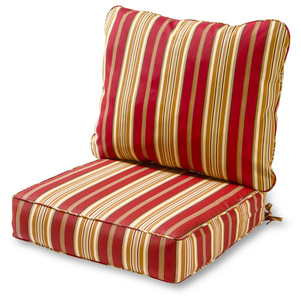 Image of 2pc Roma Stripe Outdoor Deep Seat Cushion Set - Kensington Garden, Red Gold