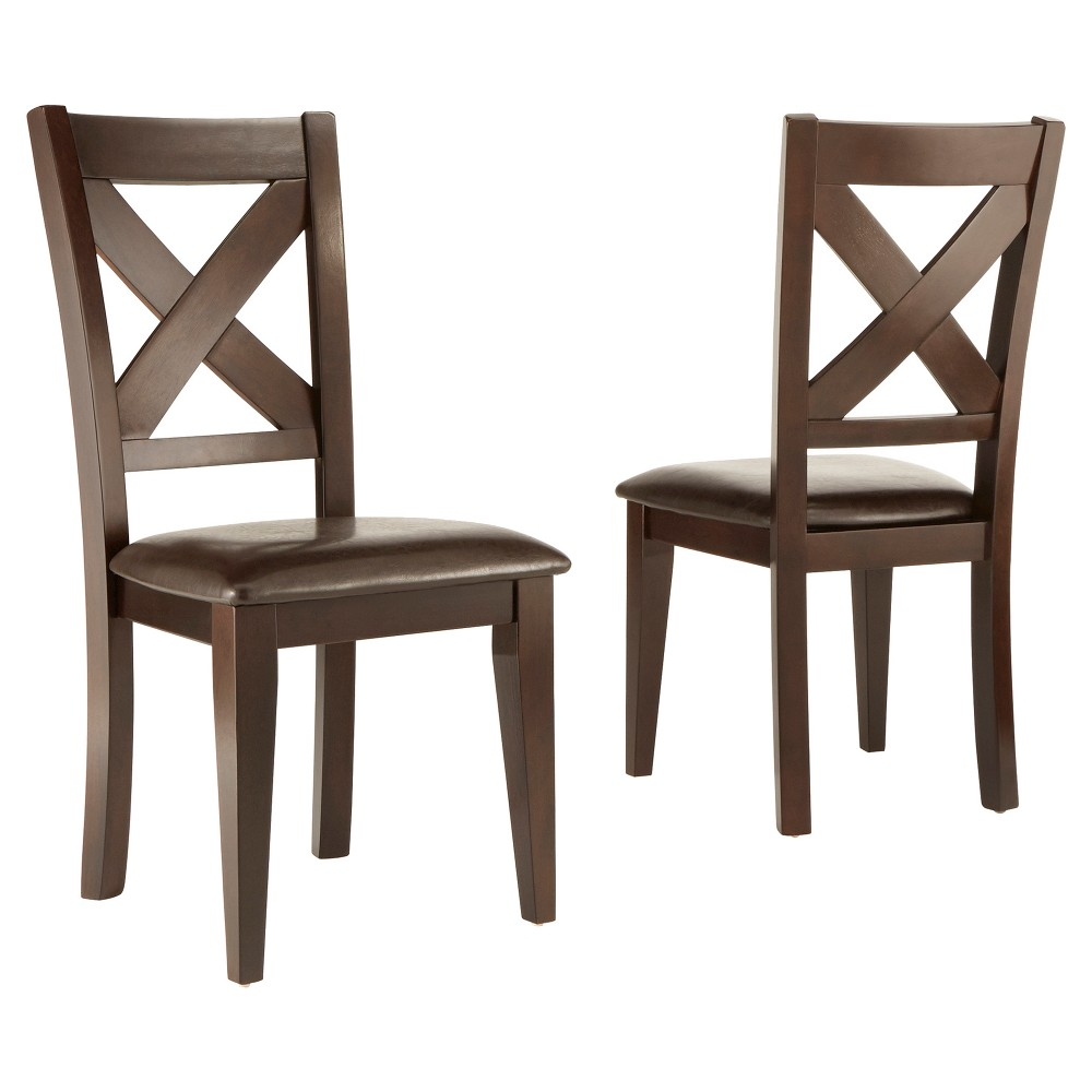 Murdock X-Back Dining Chair Wood/Burgandian Wine (Set of 2)
