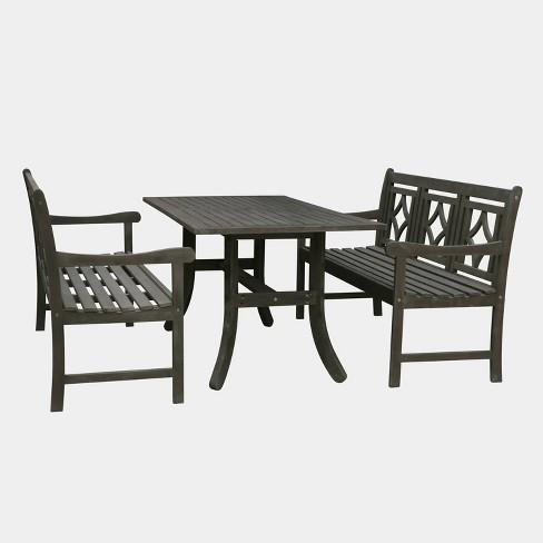 Vifah Patio Furniture.Renaissance 3pc Wood Curvy Outdoor Patio Dining Set Gray Vifah