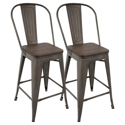 """Set of 2 24"""" Oregon Industrial High Back Counter Height Barstools - LumiSource"""