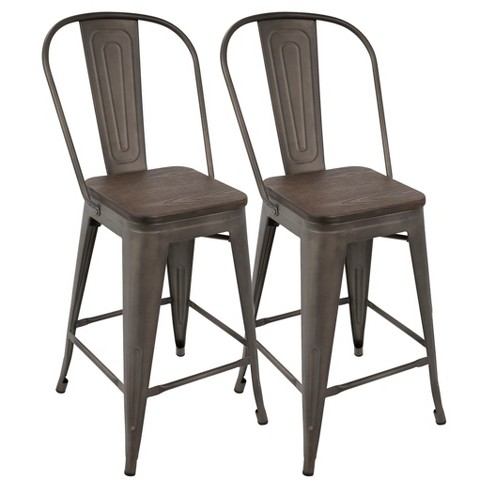 Oregon 24 Industrial High Back Counter Stool Set Of 2 Lumisource