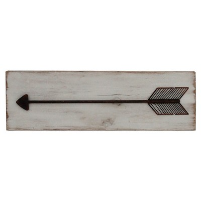 Metal Arrow on Wood Plank 24 x8  - White