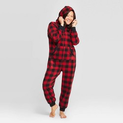 Women's Holiday Buffalo Check Fleece Union Suit  - Wondershop™ Red