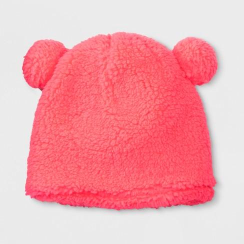 f8a382b8505 Girls  Teddy Fleece Beanie - Cat   Jack™ Pink 4-7   Target
