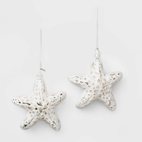 2ct Starfish Christmas Ornament Set White and Silver - Wondershop™ - image 1 of 2