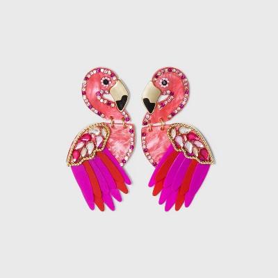SUGARFIX by BaubleBar Flamingo Drop Earrings - Pink