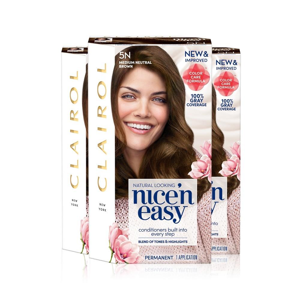 Clairol Nice 'n Easy Permanent Hair Color - 5N Medium Neutral Brown - 3pk