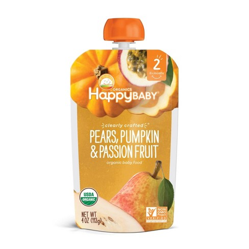 HappyBaby Clearly Crafted Pears Pumpkin & Passion Fruit Baby Food Pouch - 4oz - image 1 of 4