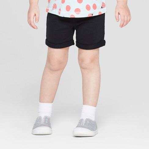 Toddler Girls' Solid Pull-on Shorts - Cat & Jack™ Black - image 1 of 3