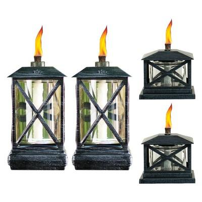 65  4pc Square Beacon Metal Torch Black and Petite Lantern Metal Table Torch Black - TIKI