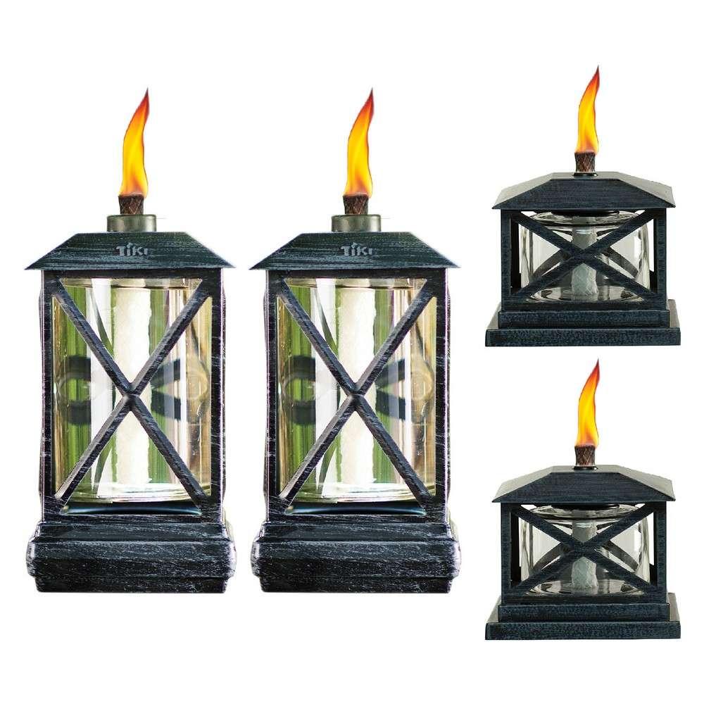 "Image of ""65"""" 4pc Square Beacon Metal Torch Black and Petite Lantern Metal Table Torch Black - TIKI"""
