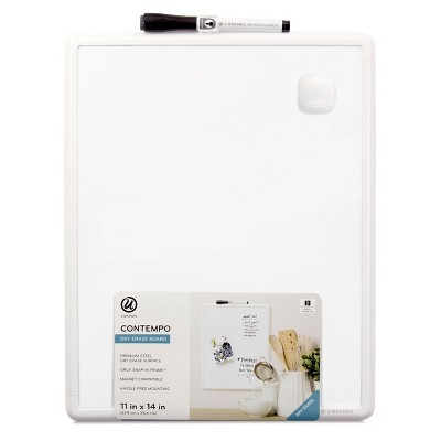 "U Brands 11""x14"" Contempo Magnetic Dry Erase Board White Frame"