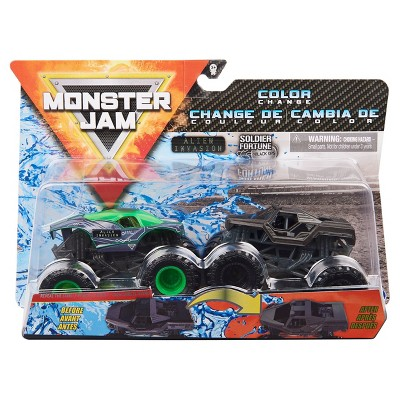 Monster Jam Official Alien Invasion vs. Soldier Fortune Black Ops Color-Changing Die-Cast Monster Trucks - 1:64 Scale