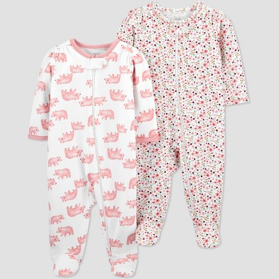 Baby Girls' 2pk Bear and Floral Sleep N' Play - Just One You® made by carter's Pink 6M